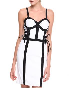 XOXO - Bustier Lace-up Colorblock Millenium Sheath Dress