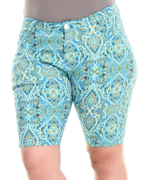 Fashion Lab - Women Blue Paisley Park Bermuda Short (Plus)