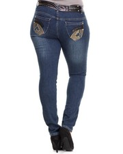 Women - High Waisted Vegan Leather Trim Skinny Jeans (Plus)