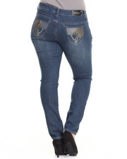 Bottoms - Studded Rhinestone Back Pocket Skinny Jean (Plus)
