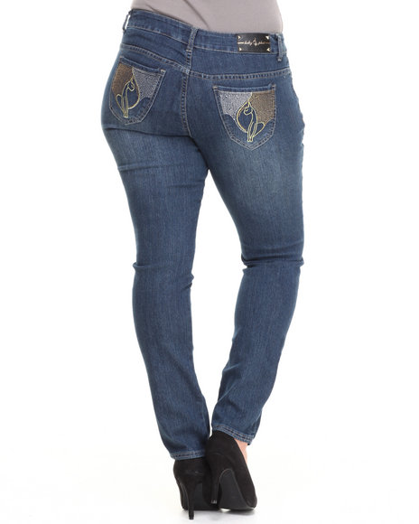Baby Phat - Women Medium Wash Studded Rhinestone Back Pocket Skinny Jean (Plus)