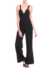 XOXO - Linen Zip Black Wide Leg Jumpsuit