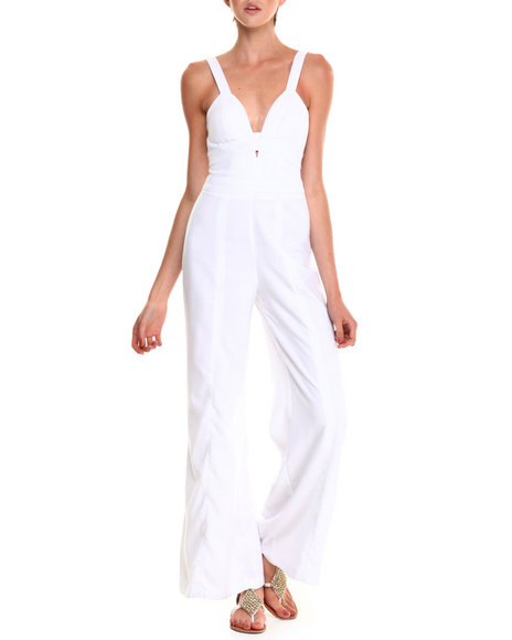 Xoxo - Women White Linen Zip Back Wide Leg Jumpsuit