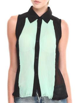 Fashion Lab - Melony Sleeveless Chiffon Button-Down