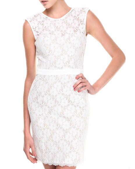XOXO - Open Back All-over Lace Sheath Dress