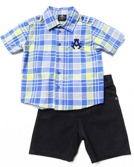 Akademiks - Boys Lime Green 2 Piece Set - Plaid Woven & Shorts (2T-4T)