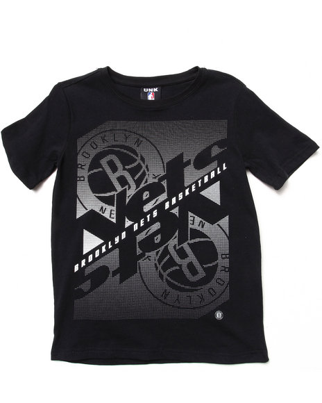 NBA MLB NFL Gear Boys Black Brooklyn Nets Crossfade Tee (8-20)