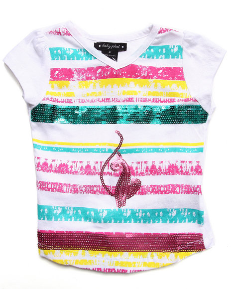 Baby Phat - Girls White Sequin Strip Tee (2T-4T) - $8.99
