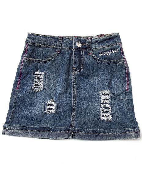 Baby Phat Girls Medium Wash Distressed Denim Skirt (7-16)