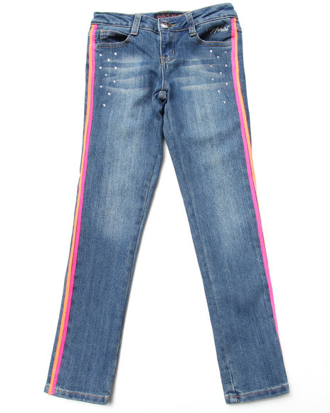 Baby Phat Girls Light Wash Colorful Taped Jeans (7-16)