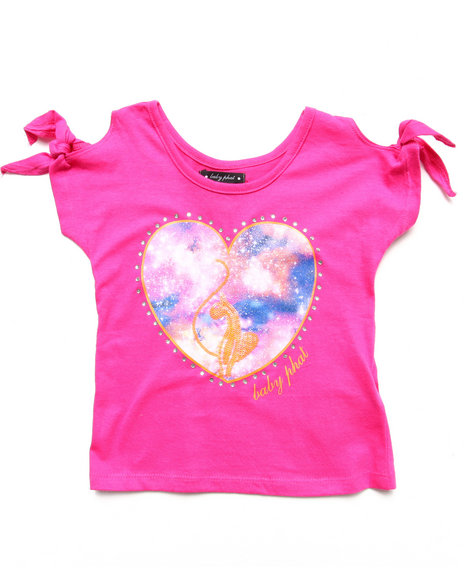 Baby Phat - Girls Pink Cold Shoulder Heart Top (4-6X)