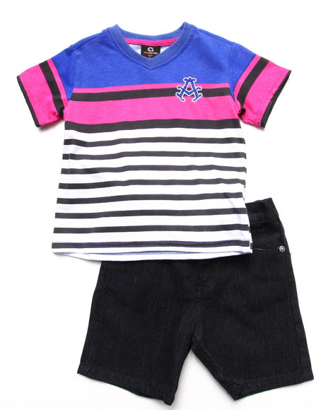 Akademiks - Boys Black,White,Purple 2 Piece Set - Striped V-Neck & Shorts (2T-4T) - $15.99