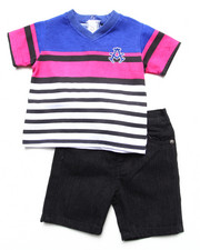 Akademiks - 2 PIECE SET - STRIPED V-NECK & SHORTS (INFANT)