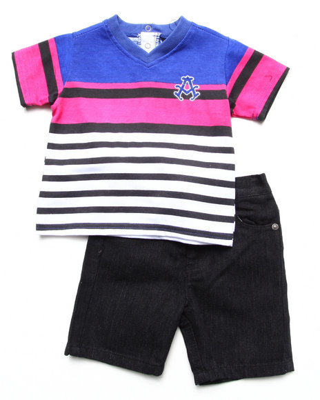 Akademiks - Boys Black,Purple,White 2 Piece Set - Striped V-Neck & Shorts (Infant)