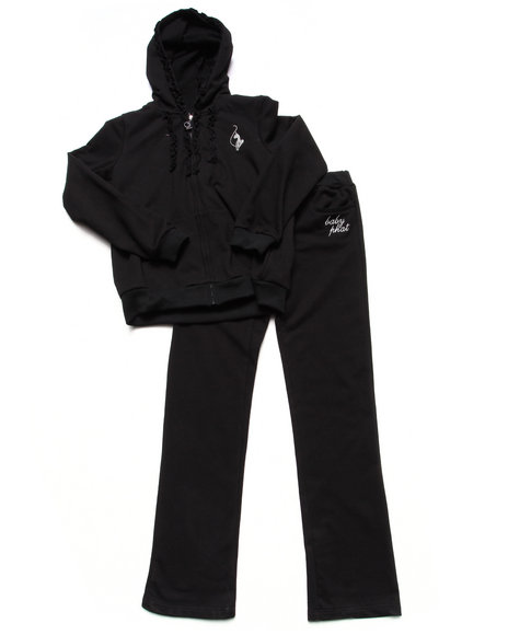 Baby Phat - Girls Black 2 Piece French Terry Set (7-16)