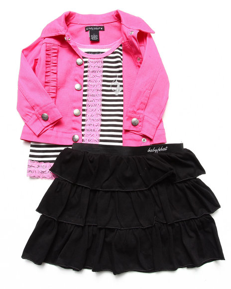 Baby Phat - Girls Black,Pink 3 Pc Set - Jacket, Lace Top, & Skirt (2T-4T)
