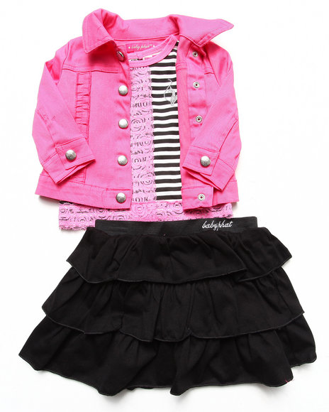 Baby Phat - Girls Black,Pink 3 Pc Set - Jacket, Lace Top, & Skirt (Infant)