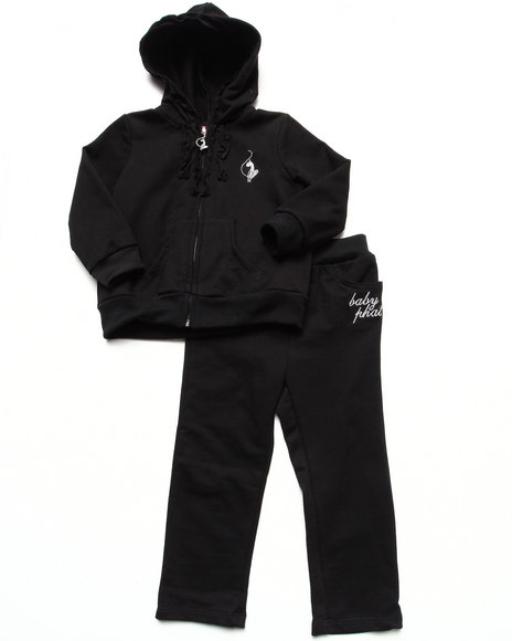 Baby Phat - Girls Black 2 Pc French Terry Set (2T-4T)