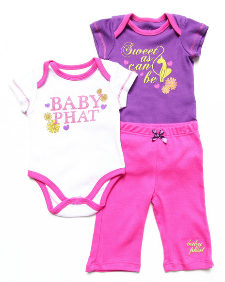Baby Phat - Girls Pink 2 Bodysuits & Pant Set (Newborn)