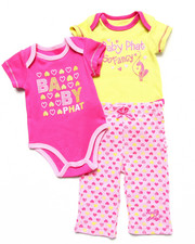 Girls - 2 BODYSUITS & PANT SET (NEWBORN)