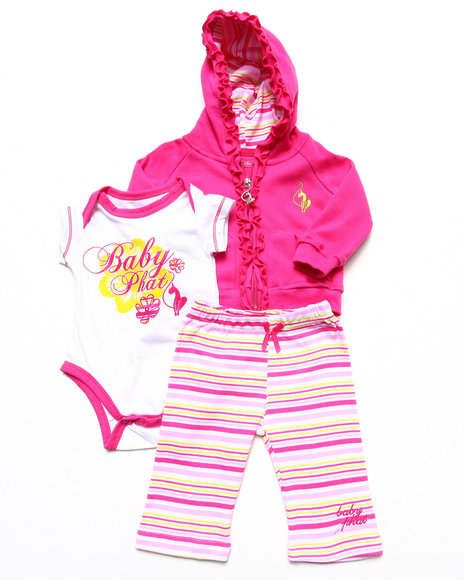 Baby Phat - Girls Pink 3 Pc Set - Hoody, Bodysuit, &  Pants (Newborn)