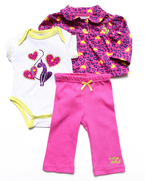 Baby Phat - Girls Pink 3 Pc Set - Jacket, Bodysuit, & Pants (Newborn)