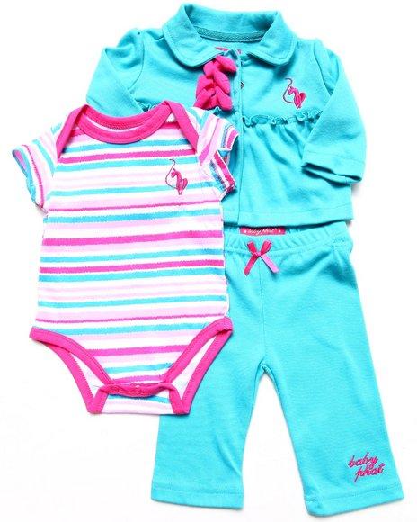 Baby Phat - Girls Blue 3 Pc Set - Jacket, Bodysuit, & Pants (Newborn)