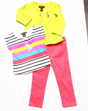 Baby Phat - 3 PC SET - CARDIGAN, STRIPED TOP, & PANTS (2T-4T)