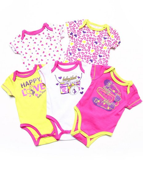Baby Phat Girls Pink 5 Pack Bodysuits Set (Newborn)