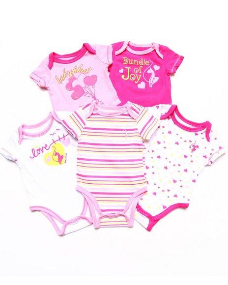 Baby Phat - Girls Pink 5 Pack Bodysuits Set (Newborn)