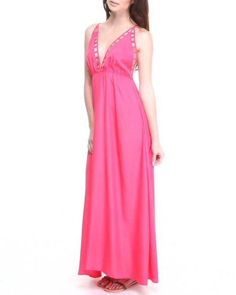 Ali & Kris - Women Pink Cut-Out Babydoll Maxi Dress - $15.99