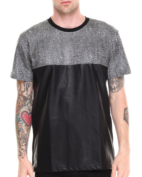 Double Needle - Men Grey King Babar Vegan Leather Tee