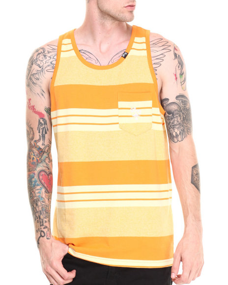 Lrg - Men Yellow Core Collection Striped Tank