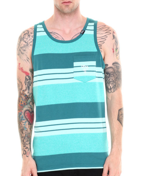 Lrg - Men Teal Core Collection Striped Tank