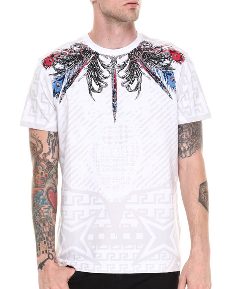 Double Needle White Aztec Wolf Flocked Tee