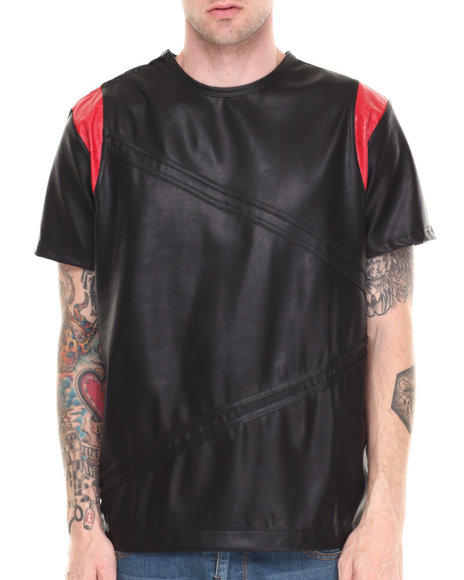 Double Needle Black,Red Queensbridge Vegan Leather Zip Trim Tee