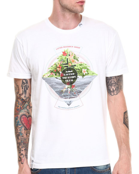 Lrg - Men White Lifted Vacation Club Slim Fit S/S Tee - $20.99