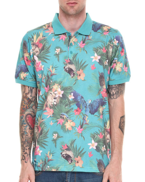 Lrg - Men Teal Hawaiian Safari S/S Polo