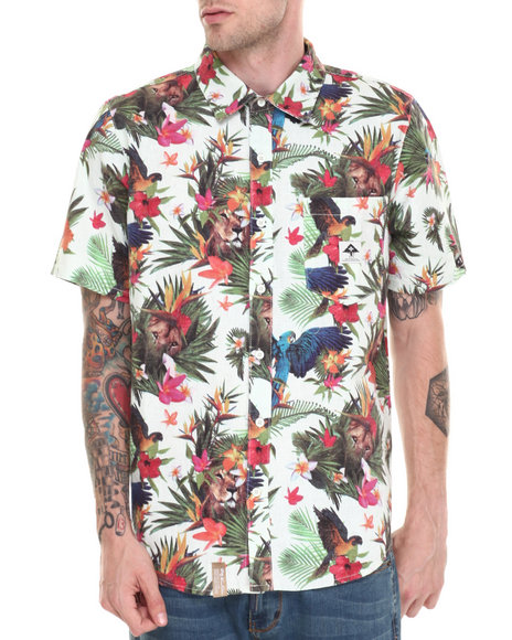 Lrg - Men Off White Hawaiian Safari S/S Button-Down