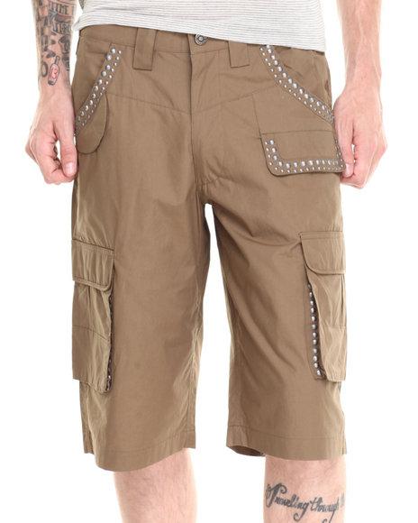 Pelle Pelle Olive Studded Cargo Shorts
