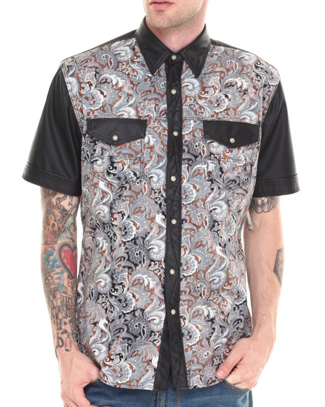 Winchester Black Floral/Faux Leather S/S Button Down Shirt