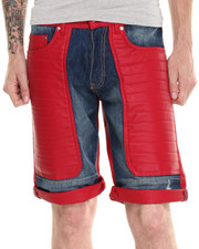 Winchester - Main Red Faux leather/Denim detail Shorts