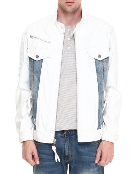 Winchester - Men Off White Texas White/Denim Faux Leather Jacket