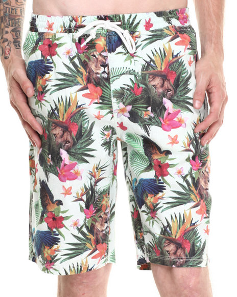 LRG - Men Off White Hawaiian Safari Linen Shorts