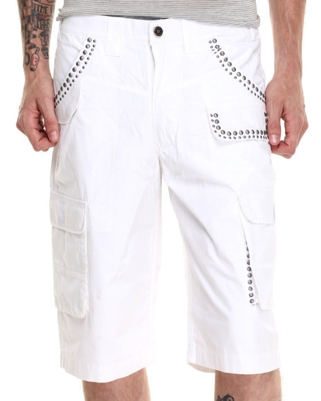 Pelle Pelle - Men White Studded Cargo Shorts