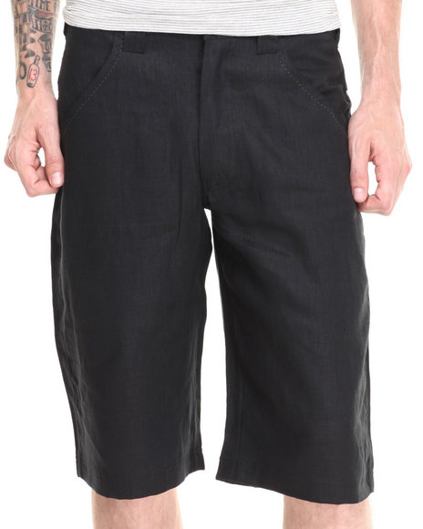 Pelle Pelle - Men Black Pelle Linen Shorts