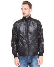 Men - Perforated Nylon Moto Jacket