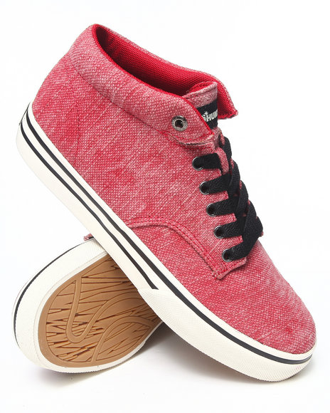 The Hundreds - Men Red Johnson Mid Acid Wash Jute Sneakers