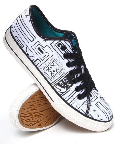 The Hundreds White Valenzuela Low Geo-Print Sneakers