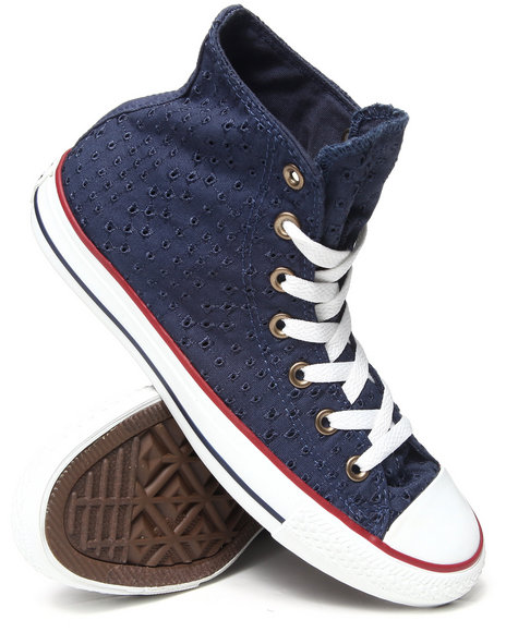 Converse Navy Eyelet Cutout Chuck Taylor All Star Hi Sneakers